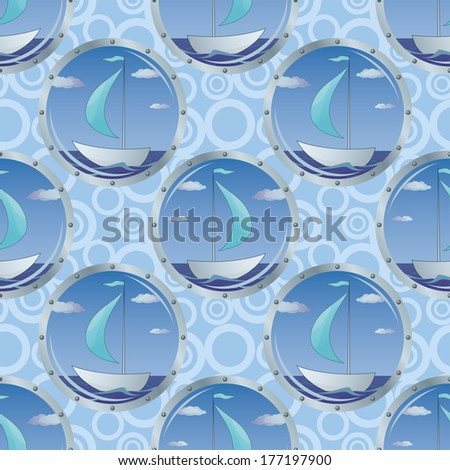 Seamless background, portholes with the ships floating on the sea. - stock photo