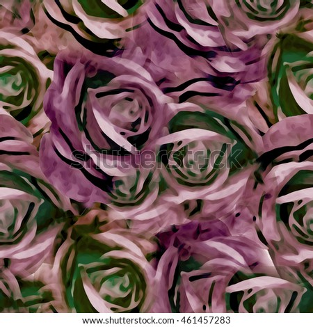 Seamless background. Roses. Vintage. Stylization: watercolor.