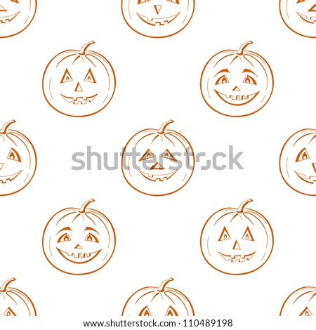 Seamless background, symbol of the holiday of Halloween pumpkins Jack O Lantern, symbolical pictograms isolated on white - stock photo