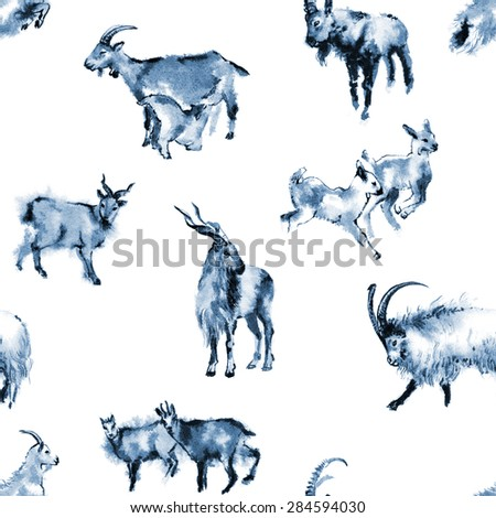 Seamless background texture with 8 images of goats, oriental ink painting, blue tone, isolated on white background. Year of sheep, goat. - stock photo