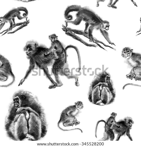 Seamless background texture with 4 images of monkeys, oriental ink painting, grey tone, isolated on white background. Year of monkey. - stock photo
