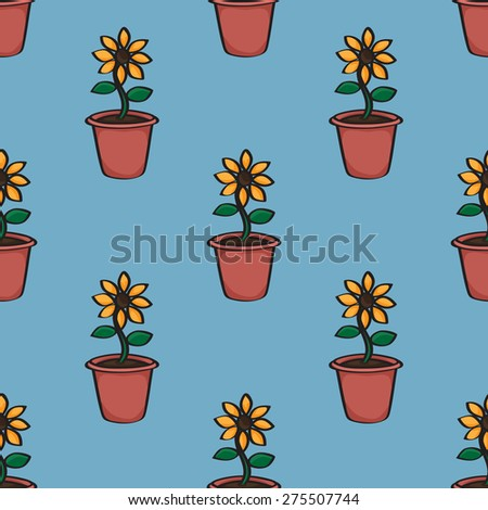 Seamless background tile with a pattern of cartoon sunflowers in terracotta pots.