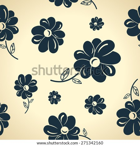Seamless background wallpaper Vintage black flowers. - stock photo