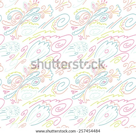 Seamless background with a pattern of flowers, waves and shells. Linear pattern. White background with colored lines - stock photo