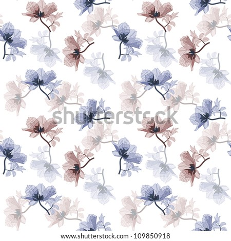 Seamless background with blue and purple poppies in retro style - stock photo