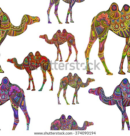 seamless background with bright pattern camels