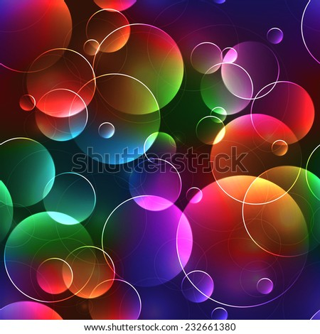 Seamless background with bubbles in bright neon or rainbow colors - stock photo