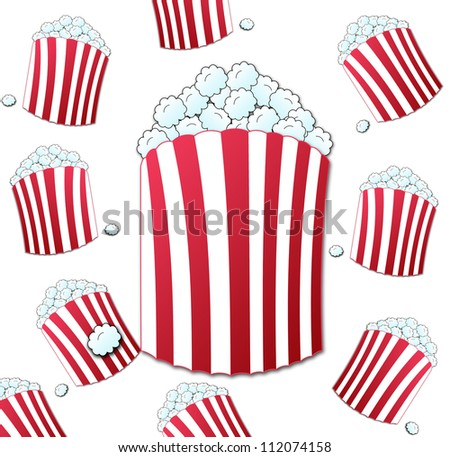 seamless background with bucket full of crunchy pop corn - stock photo