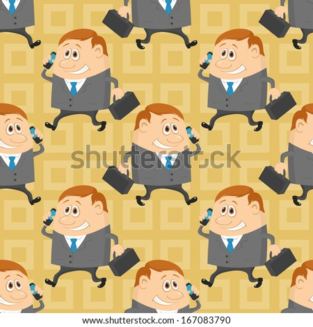 Seamless background with businessmans with a suitcases and mobile phone, cartoon characters with abstract yellow pattern. - stock photo