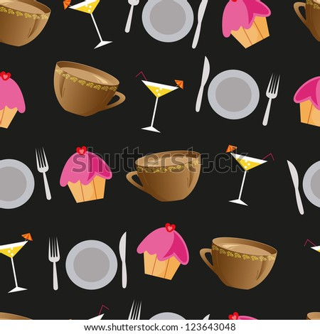 Seamless background with cakes, cocktails, plates and cups for restaurant