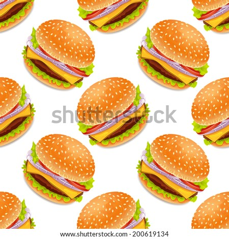 Seamless background with cartoon style hamburgers - stock photo