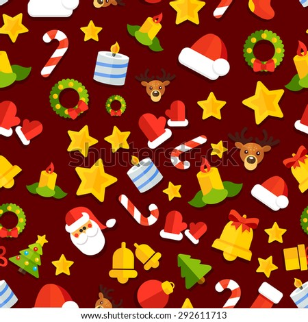 Seamless background with christmas elements in a flat style