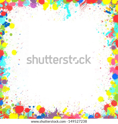 Seamless background with color ink spots, frame for text of photography - stock photo