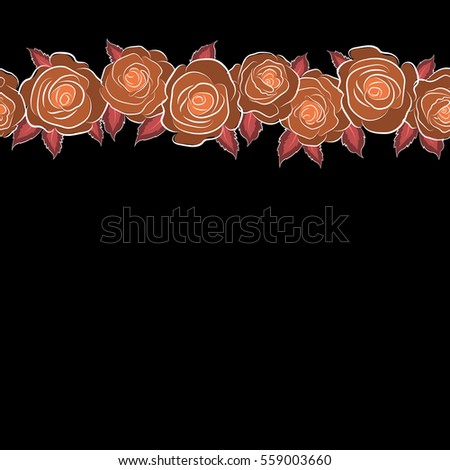 Hand Painted Horizontal Sketch Abstract Rose Stock