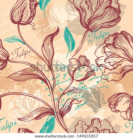 Seamless background with decorative tulips. Raster version of vector file