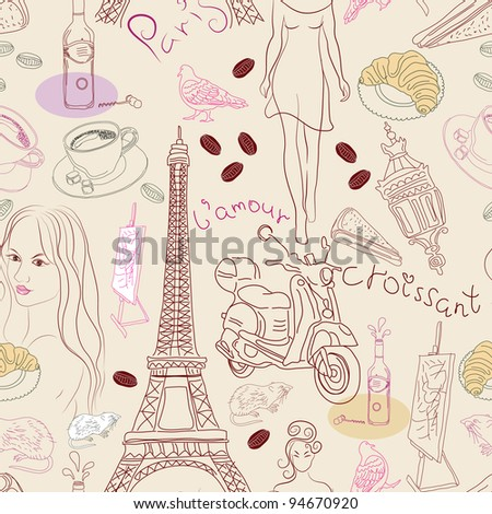 Seamless background with different Paris doodle elements, illustration - stock photo