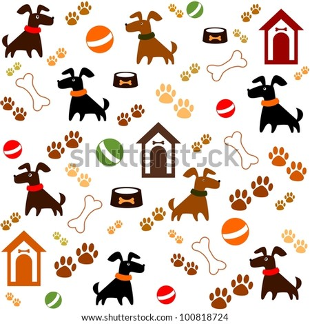 Seamless background with dogs. Illustration - stock photo