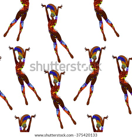 seamless background with ethnic ballet