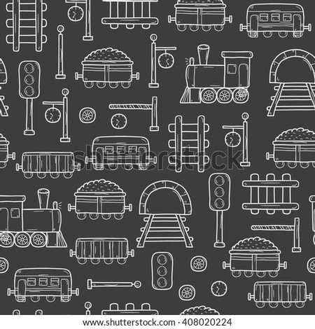 Seamless background with hand drawn railroad objects: wagons, semaphore, railway station clock, locomotive, barrier, tunnel. Transport shipping delivery or travel concept for your design - stock photo
