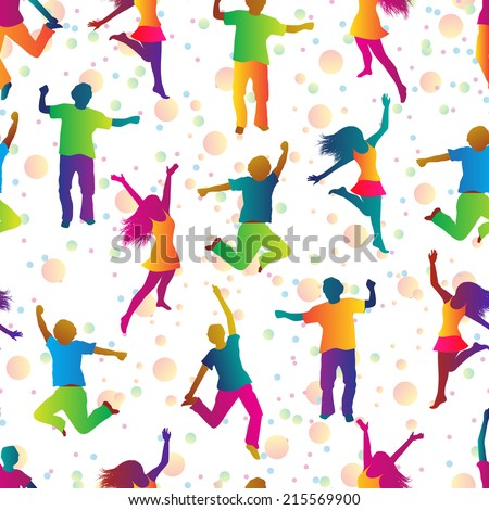seamless background with jumping people in bright clothes - stock photo