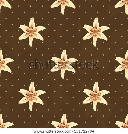 Seamless background with lilies. Raster version.