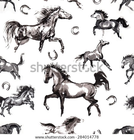 Seamless background with moving horses and horseshoes, oriental ink painting. Isolated on white background.  Fabric texture. - stock photo