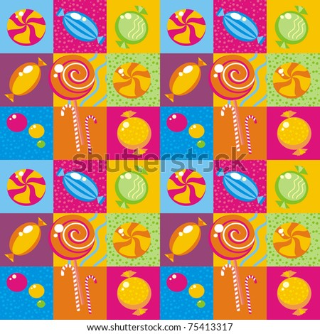 Seamless background with multi-coloured candy - stock photo