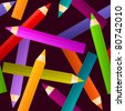 seamless background with multicolor pencils - for vector version see image no. 80442169 - stock photo