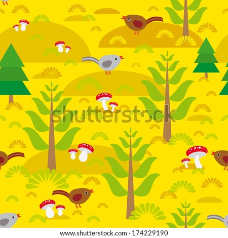 Seamless background with orange autumn mushrooms spruce trees birds.