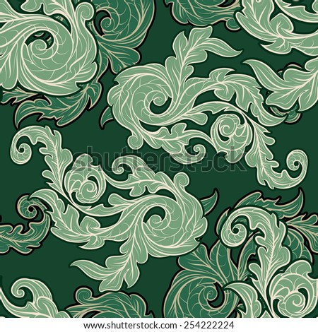 Seamless background with ornate leaves drawn in vintage style. - stock photo