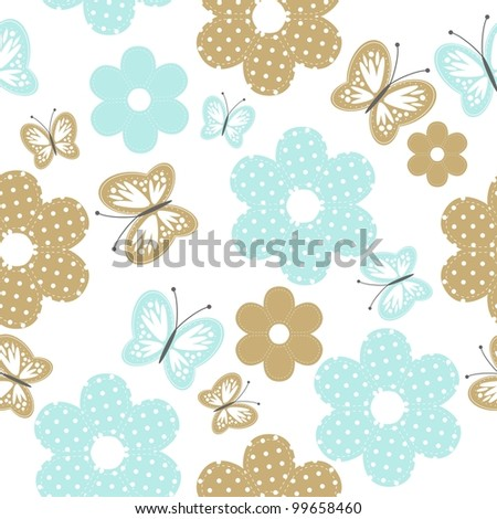 seamless background with scrapbook objects and butterflies - stock photo