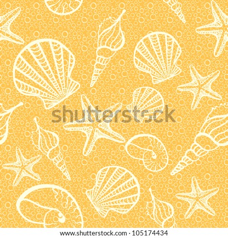 Seamless background with shells and starfishes.