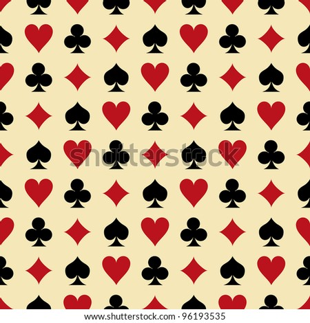 Seamless background with suits: hearts, diamonds, clubs, spades. Illustration