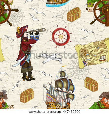 Seamless background with two pirate captains and treasure map. Sea doodle illustration with vintage transportation and marine emblems, hand drawn repeated drawing with map, ship, helm and trunk