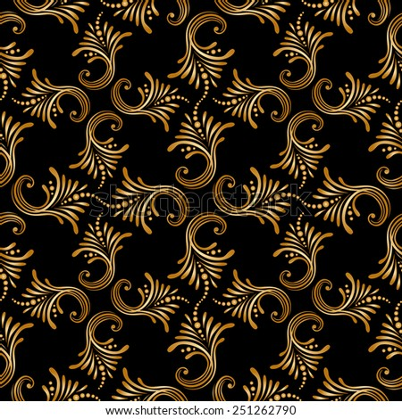 Seamless background with vintage floral pattern. Raster version. - stock photo