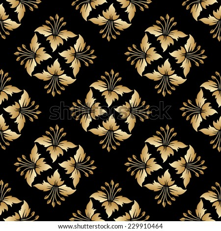 Seamless background with vintage gold floral pattern. Raster version. - stock photo