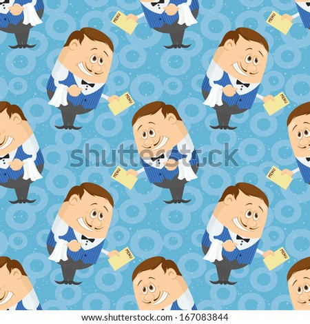 Seamless background with Waiters with menu, cartoon characters on blue background with abstract pattern. - stock photo