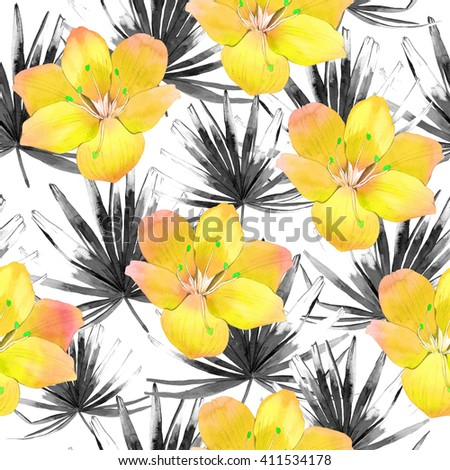 Seamless background with watercolor tropical leave and flowers. Beautiful pattern with tropical black leaves and yellow flowers on white background. Summer pattern with palm leaves. - stock photo