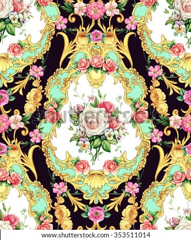 Seamless baroque composition with roses and pansies on black background - stock photo