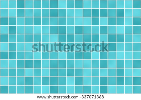 Seamless bathroom tiles mosaic texture background image. Green color. Realistic pattern. Blue green cyan color - stock photo