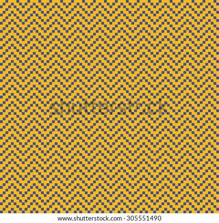 seamless bauhaus blue and yellow vintage pixel zigzag pattern