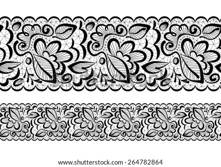 seamless beautiful. Lace flowers and leaves on a white background - stock photo