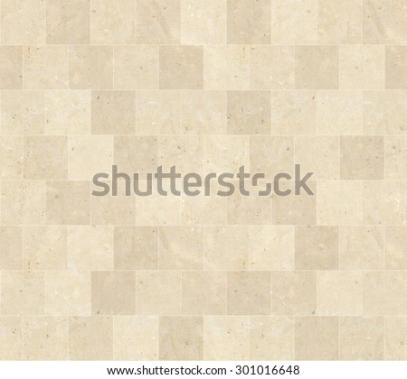 Seamless Beige Marble Stone Tiles Texture with White Joint Line - stock photo