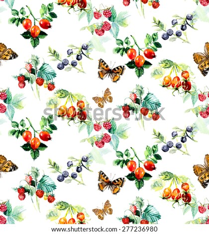 Seamless berries and butterflies. Hand-drawing watercolor illustration. - stock photo