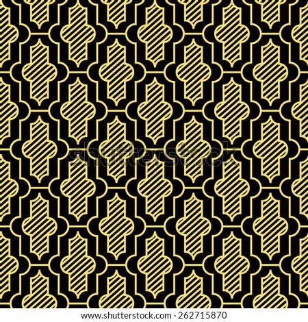 Seamless black and gold vintage moroccan pattern - stock photo