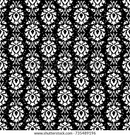 Seamless Black And White Grunge Ornate Vintage Floral Wallpaper Pattern