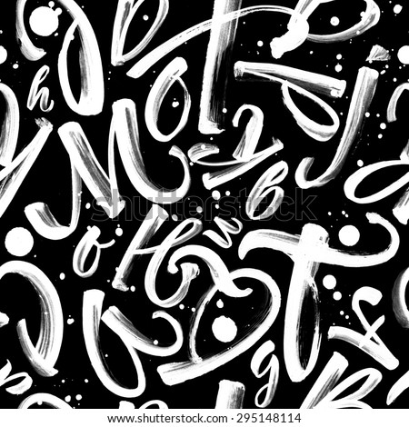 Seamless black and white pattern with letters and splashes - stock photo