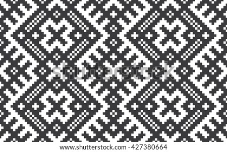 Seamless black and white slavic pixel ethnic textile pattern