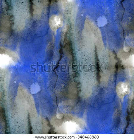 seamless  black blue texture watercolor handmade background wallpaper - stock photo