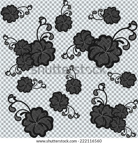 Seamless black lace fabric with flowers. - stock photo